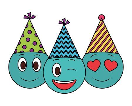 emoticons birthday celebration party hat vector illustration