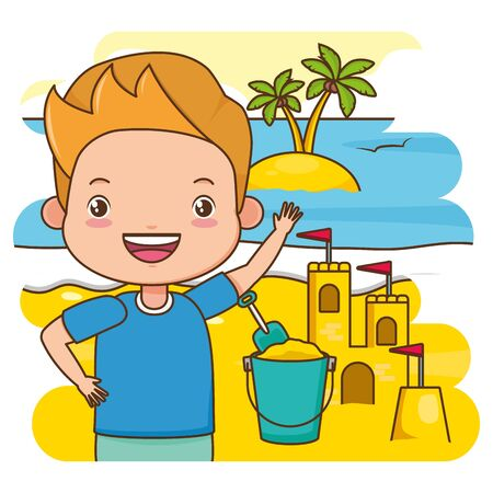 summer time kid sand castle bucket island beach vector illustration