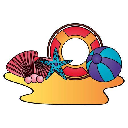 summer time holiday lifebuoy ball starfish shell vector illustration