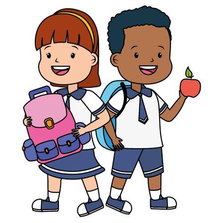 Niño y niña estudiante con manzana y mochila de regreso a la escuela ilustración vectorial Ilustración de vector