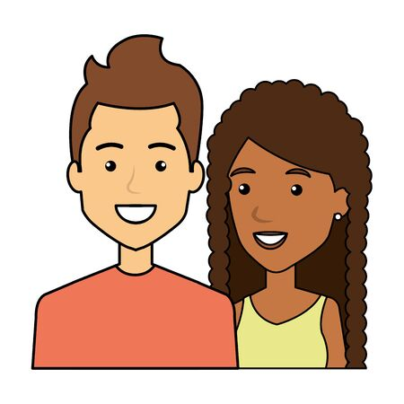 young interracial couple urban style characters vector illustration design