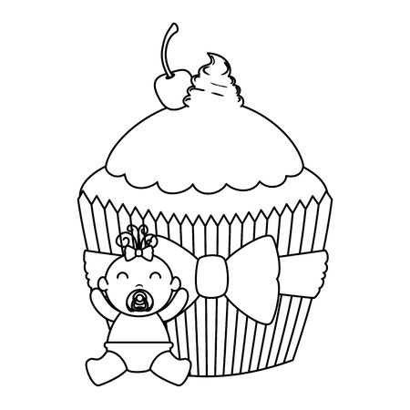 cute little baby girl with sweet cupcake vector illustration design Иллюстрация