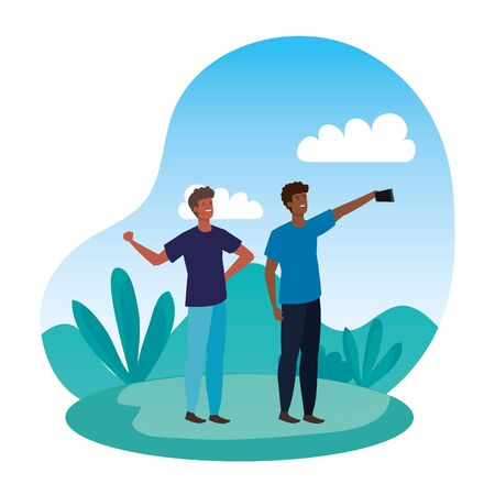 interracial young men friends taking a selfie in the park vector illustration design