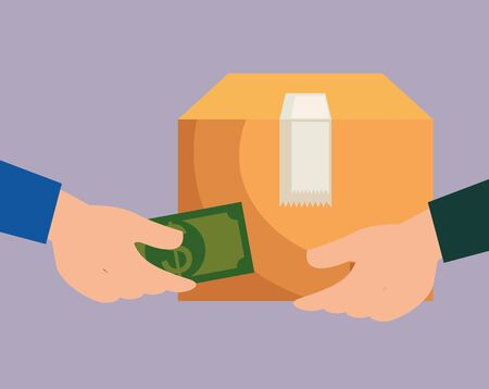 businessmen hands with bill and box package to delivery service vector illustration Ilustración de vector