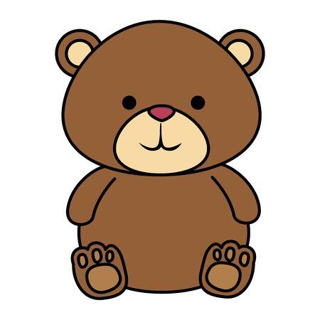 Mignon petit ours en peluche icône vector illustration design