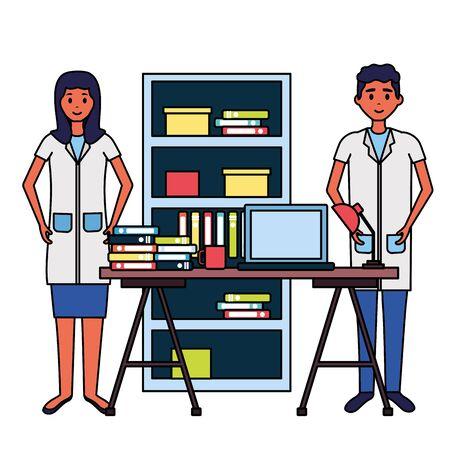 medical doctors room consultation desk bookshelf laptop books vector illustration Stock Illustratie