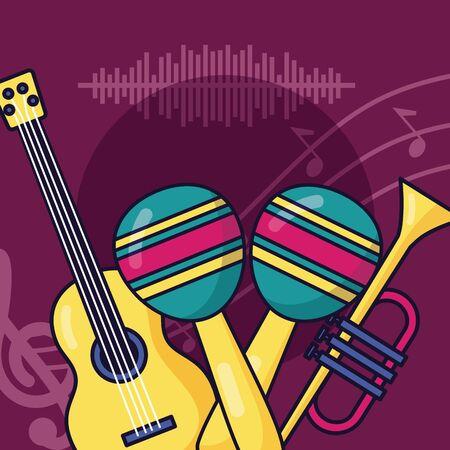 guitar maraca and trumpet festival music poster vector illustration Illustration