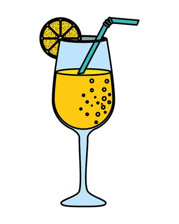 summer tropical cocktail with citrus fruit vector illustration design