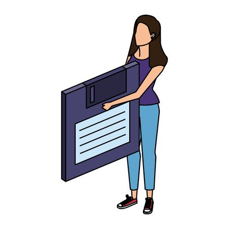 young woman lifting floppy disk data storage vector illustration design