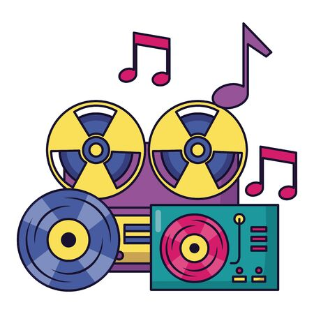 reel tape recorder turntable vinyl equipment festival music vector illustration