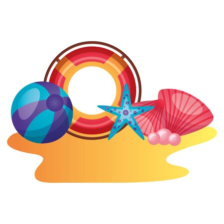 summer time holiday lifebuoy ball starfish shell vector illustration