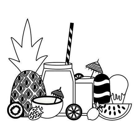 Sommerzeit Urlaub Ananas Kokos Nymphensittich Eis am Stiel Limette Vektor-Illustration