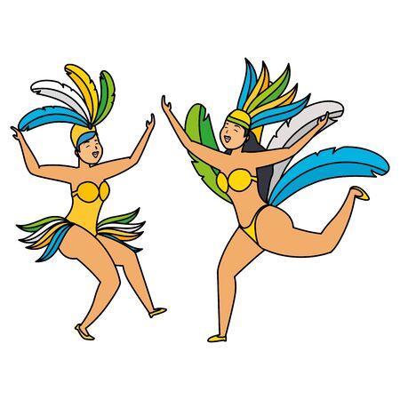 dancers exotic feathers brazil carnival celebration vector illustration