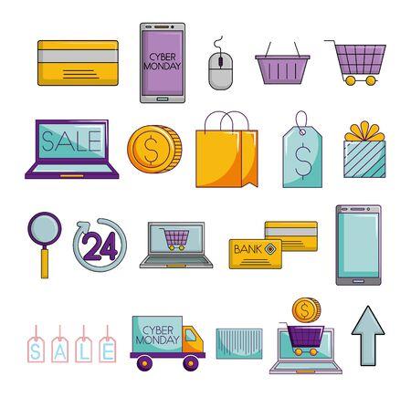 bundle of ecommerce set icons vector illustration design