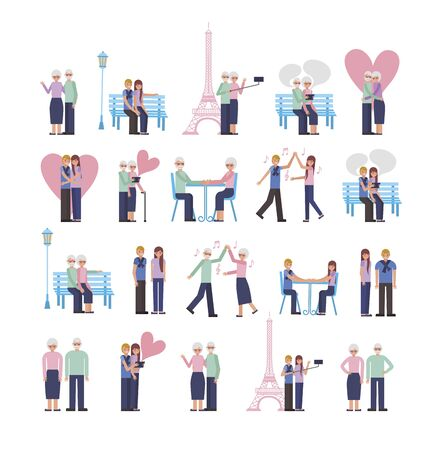 young and old parents lovers couple characters vector illustration design Фото со стока - 130492941