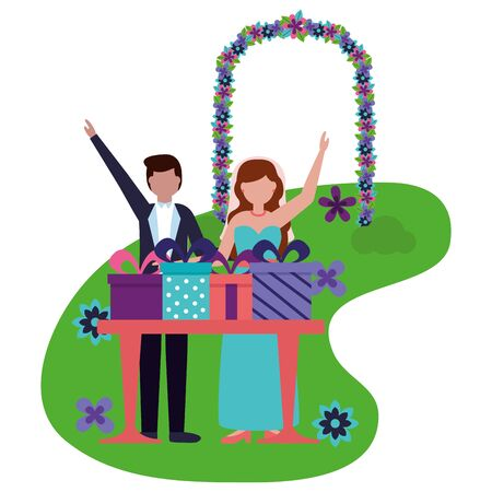bride and groom with gifts on table wedding vector illustration