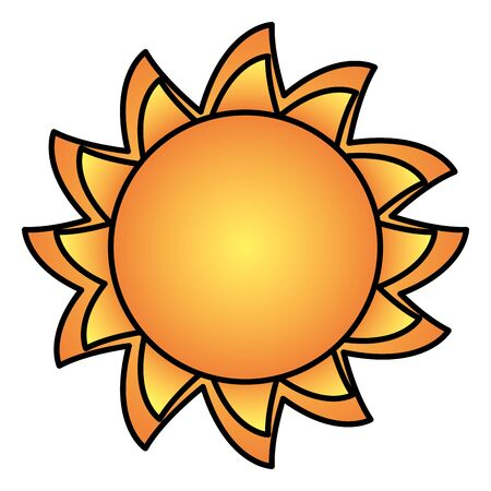 bright sun weather on white background vector illustration