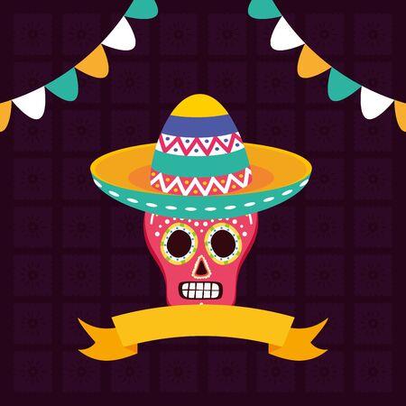 sugar skull with hat celebration viva mexico vector illustration Illustration
