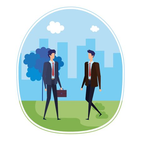 elegant young businessmen on the city vector illustration design
