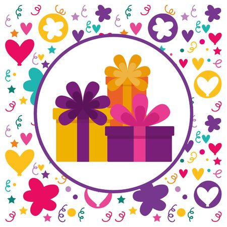 birthday celebration gift boxes stacked badge vector illustration
