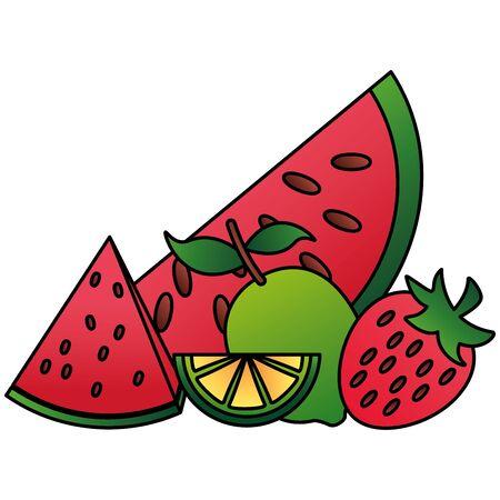 tropical fruits watermelon lemon coconut vector illustration Banque d'images - 130493172