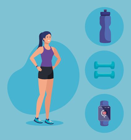 fitnesss woman with healthy balance activity over blue background, vector illustration
