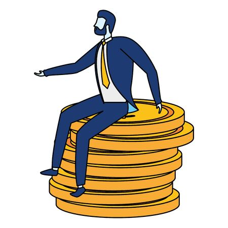 businessman character sitting coins money stacked vector illustration
