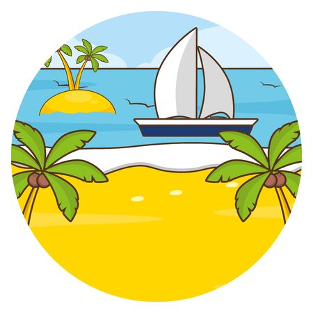 beach vacations ocean boat palms vector illustration