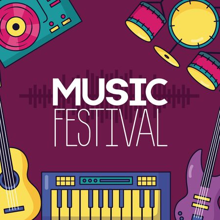 synthesizer guitar drums and turntable vinyl festival music poster vector illustration Illustration
