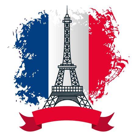 torre eiffel con bandiera della francia felice giorno della bastiglia design piatto illustrazione vettoriale Vettoriali