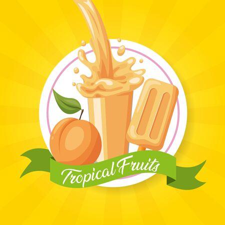 Pfirsichsaft-Eis-Spritzer tropische Früchte Vektor-Illustration