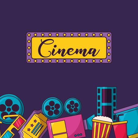 billboard ticket 3d glasses popcorn soda cinema movie vector illustration