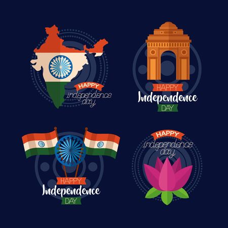 happy independence day india celebration symbols icons vector illustration Иллюстрация