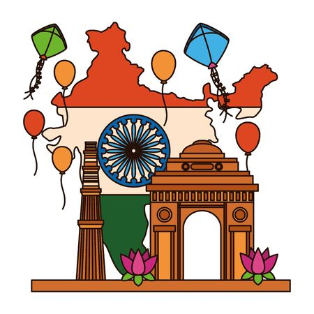 map with indian flag and gate building independence day vector illustration design Illusztráció