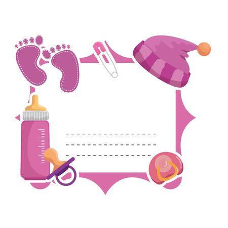 baby shower card frame invitation vector illustration design Stok Fotoğraf - 130476873