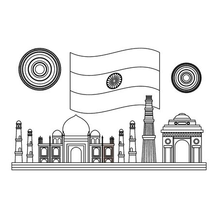 taj mahal indian and mosques with flag vector illustration design