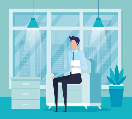 elegant businessman worker in the livingroom vector illustration design Illustration