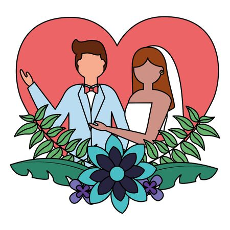 bride and groom heart love flowers wedding vector illustration Иллюстрация