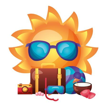 summer time holiday sun cartoon suitcase camera coconut ball shell  vector illustration 向量圖像