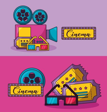 cinema movie banners glasses projector ticket vector illustration