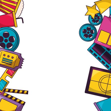 billboard reel ticket screen glasses cinema movie vector illustration Çizim