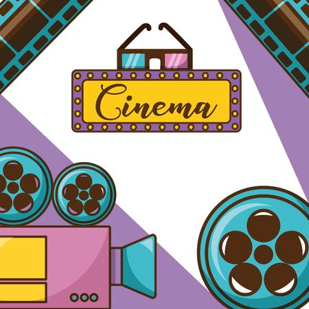 Cinema icon set design, Movie video film media entertainment show and event theme Vector illustration