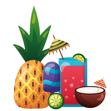 summer time holiday pineapple coconut cocktail lime vector illustration