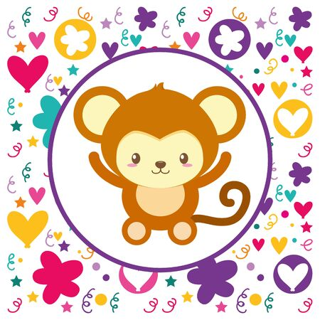 cute baby monkey flowers heart background vector illustration