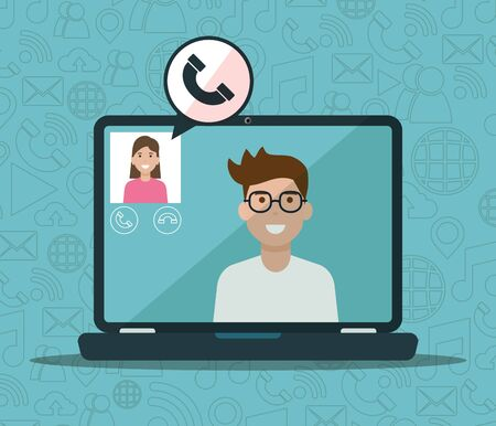man and woman laptop calling video social network media vector illustration