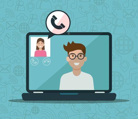 Hombre y mujer portátil llamando video red social media ilustración vectorial