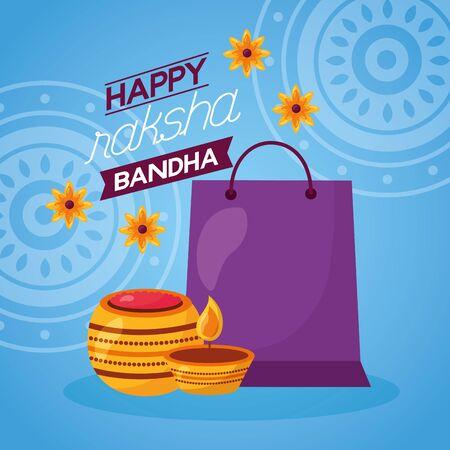 happy raksha bandhan gift candles celebrate vector illustration