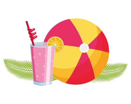 summer time cold juice and beachball vector illustration Illustration