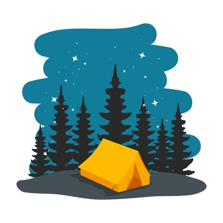 camping zone with camping tent at night scene vector illustration design