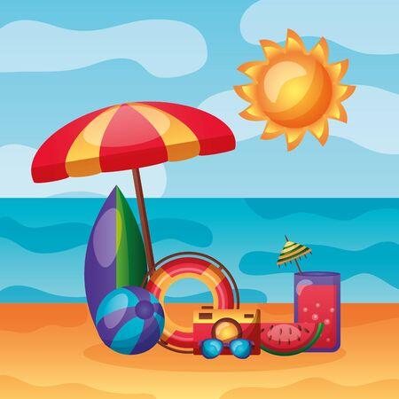 summer time holiday beach umbrella surfboard sunglasses ball vector illustration